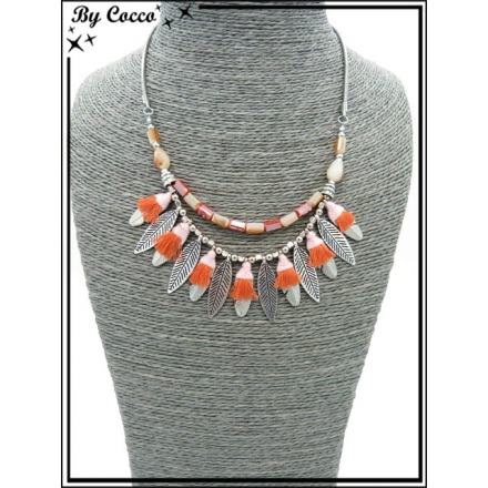 Collier - Plumes - Pompons - Corail / Rose