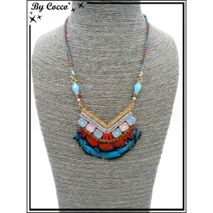 Collier - Angle - Plumes - Tons bleus
