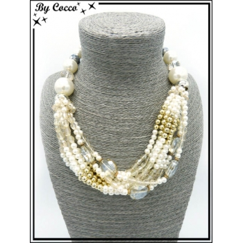Collier - Multi rangs - Grosses perles - Blanc