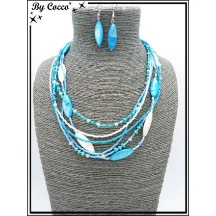 Parure - Perles - Bleu / Blanc