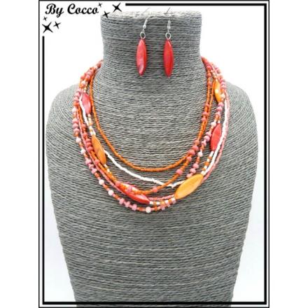 Parure - Perles - Rouge / Orange