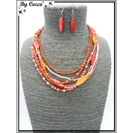 Parure - Perles - Rouge / Orange