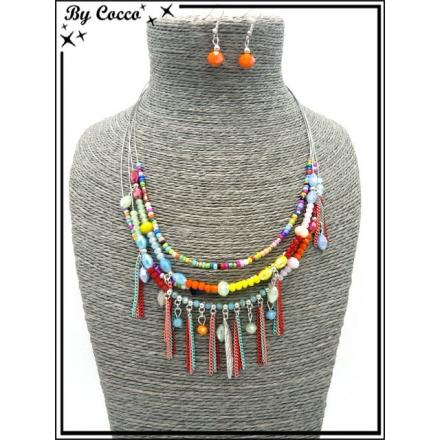 Parure - Multi rangs - Perles - Plume - Chaînettes - Multicolor