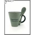 Tasse à café avec petite cuillère - Gris