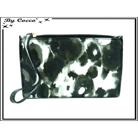 Pochette semi-rigide - Motif moucheté - Noir / Blanc