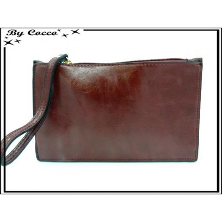 Pochette semi-rigide - Aspect cuir - Rouge