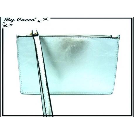 Pochette semi-rigide - Aspect cuir - Argent