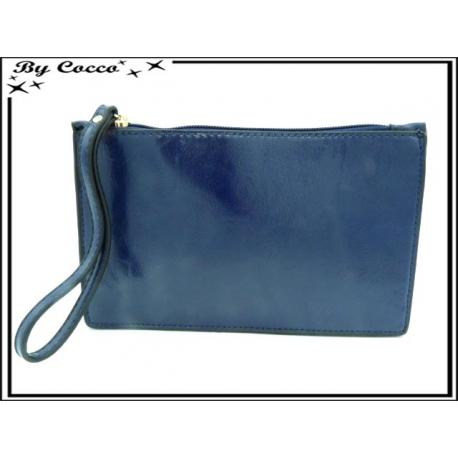 Pochette semi-rigide - Aspect cuir - Bleu marine
