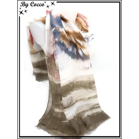 Foulard - Motif tigre - Bordure marron