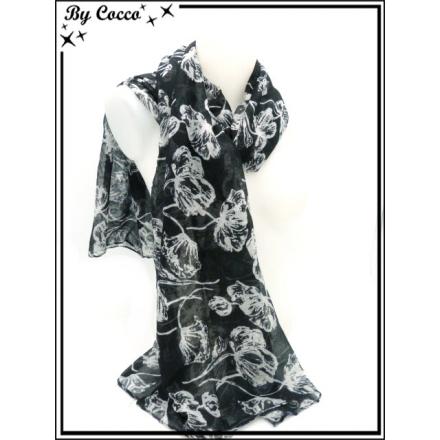 Foulard - Fleurs - Noir