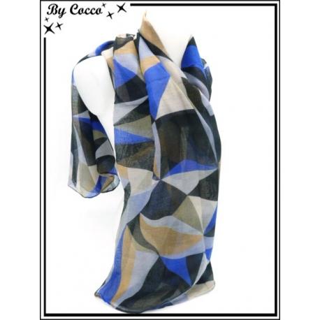 Foulard - Patchwork - Triangles - Tons noir / bleu