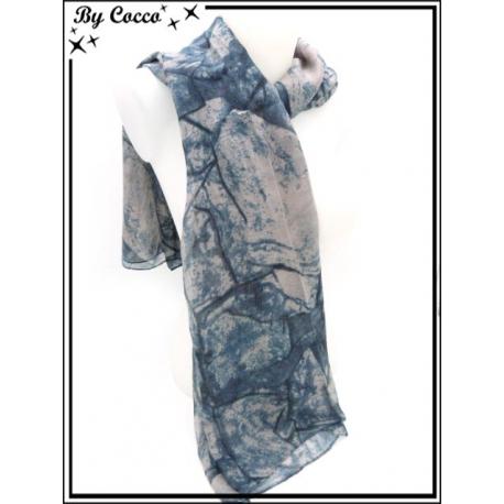 Foulard - Effet pierre - Bleu / Rose poudré