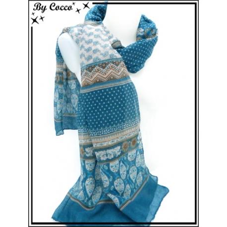Foulard - Fleurs / Pois - Bleu canard