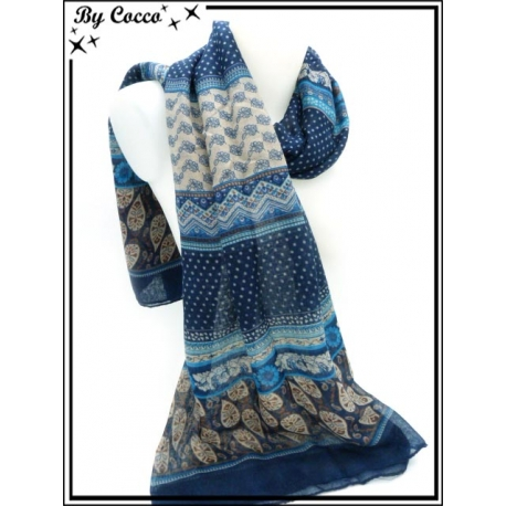 Foulard - Fleurs / Pois - Bleu marine