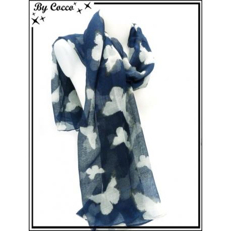 Foulard - Papillons - Bleu marine