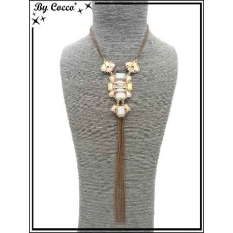 Sautoir - Pendentif - Perles - Chaînettes - Cuivré / Doré / Bronze / Gris