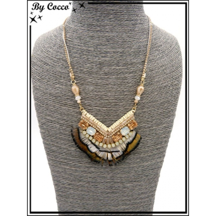 Collier - Angle - Plumes - Tons beiges