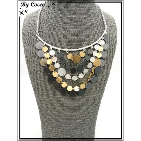 Collier - Multi rangs - Perles plates - Noir / Argent / Doré
