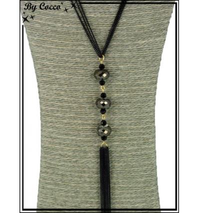 Sautoir - 3 perles à facettes - Reflet - Noir