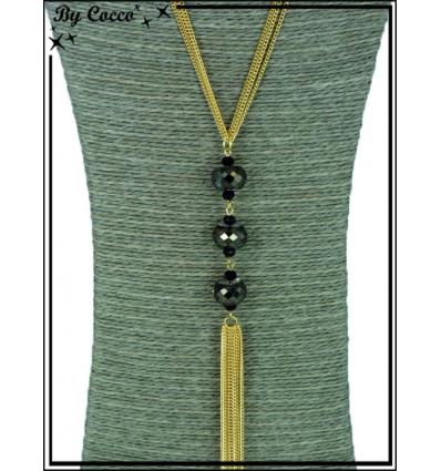 Sautoir - 3 perles à facettes - Reflet - Doré