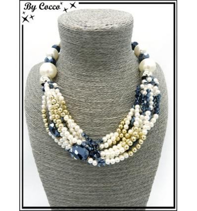 Collier - Multi rangs - Grosses perles - Blanc / Bleu pétrole