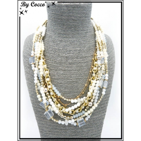 Collier - Multi rangs - Perles - Blanc / Doré