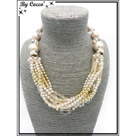 Collier - Multi rangs - Grosses perles - Beige / Rose poudré