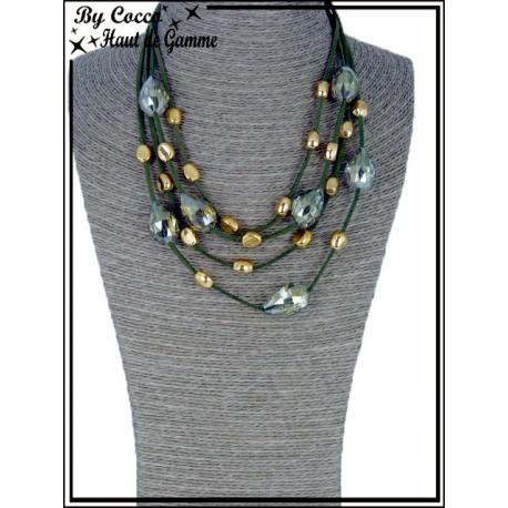 Collier - 3 Rangs - Perles à facettes - Kaki / Doré