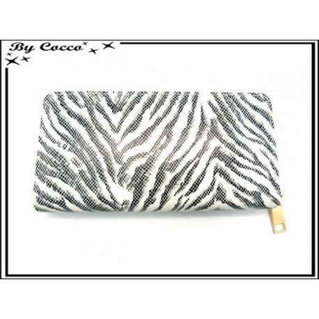 Porte-monnaie - Double compartiments - Zébré - Noir / Blanc