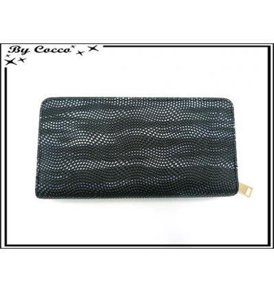 Porte-monnaie - Double compartiments - Vagues de points - Tons noirs