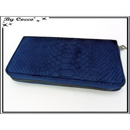 Porte-monnaie simple - Ecailles - Façon velours - Bleu marine