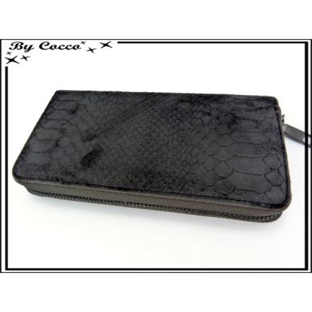 Porte-monnaie simple - Ecailles - Façon velours - Noir