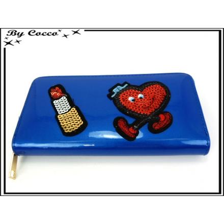 Porte-monnaie simple - Vernis - Coeur - Rouge à lèvres - Bleu roi