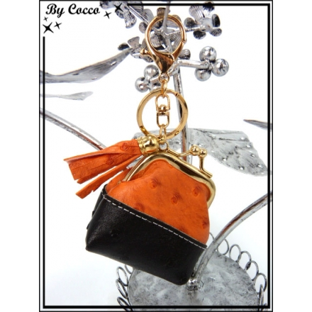 Petit porte-monnaie - Bi-color - Noir / Orange