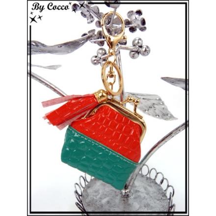 Petit porte-monnaie - Bi-color - Turquoise / Rouge