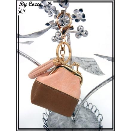 Petit porte-monnaie - Bi-color - Chocolat / Rose poudré