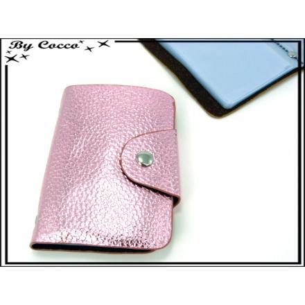 Porte cartes - Souple - 52 compartiments - Rose
