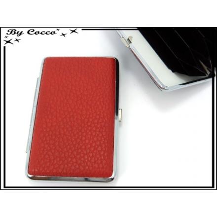Porte cartes - Rigide - 7 compartiments - Rouge