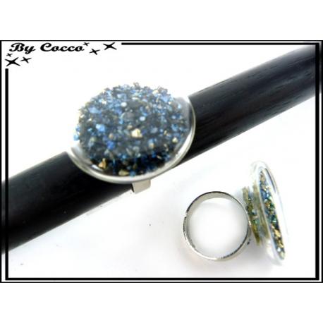 Bague en verre - Pépites - Bleu marine / Bleu roi / Doré