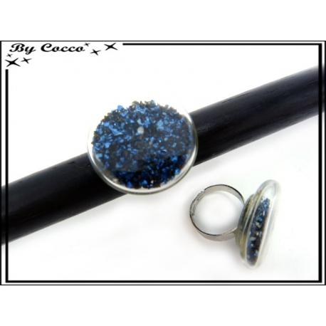 Bague en verre - Pépites - Bleu roi / Noir