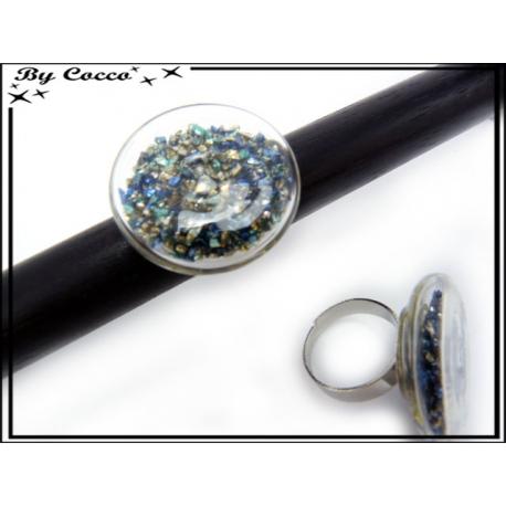 Bague en verre - Pépites - Framboise / Gris perles