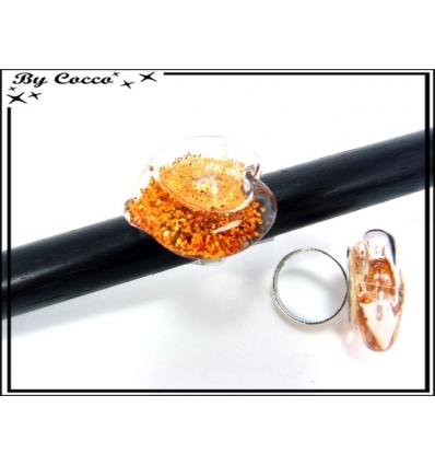 Bague en verre - Coeur - Paillettes - Orange