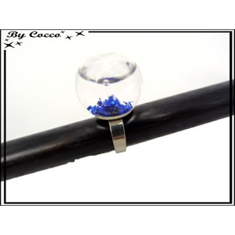 Bague en verre - Paillettes - Bleu roi