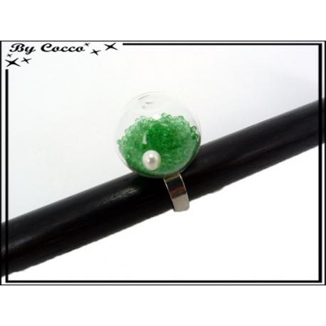 Bague en verre - Billes - Vert