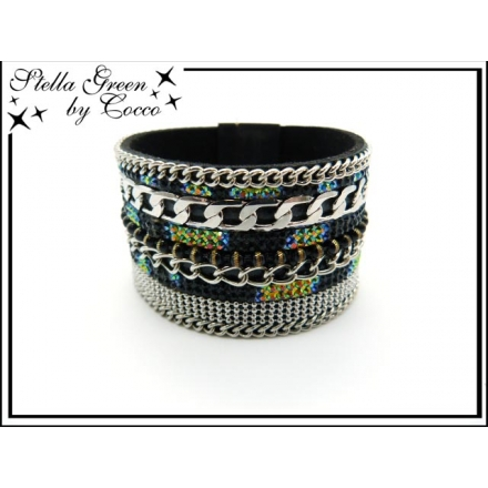 Bracelet Stella Green - Strass - Chaîne - Perles - Noir