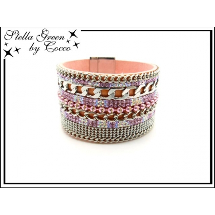 Bracelet Stella Green - Strass - Chaîne - Perles - Rose