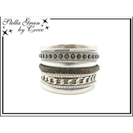 Bracelet Stella Green - 8 rangs - Strass - Chaîne - Argent