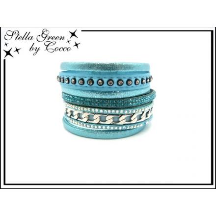 Bracelet Stella Green - 8 rangs - Strass - Chaîne - Bleu ciel
