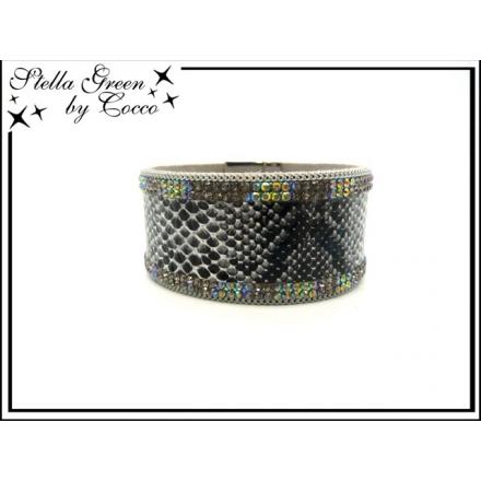 Bracelet Stella Green - Strass - Aspect serpent - Noir
