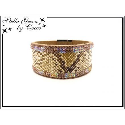 Bracelet Stella Green - Strass - Aspect serpent - Caramel